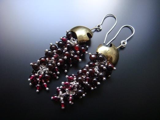 Silver, brass and garnet earrings