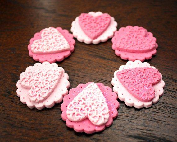 12 LOVE HEART cupcake toppers vintage by StylishlySweetCakes