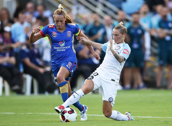 Jessica Fishlock of Melbourne City competes for the ball against Gema Simon of the Jets during the round 14 W-League match between the Newcastle Jets and Melbourne City FC at Coffs Harbour International Stadium on January 27, 2017 in Coffs Harbour, Australia.