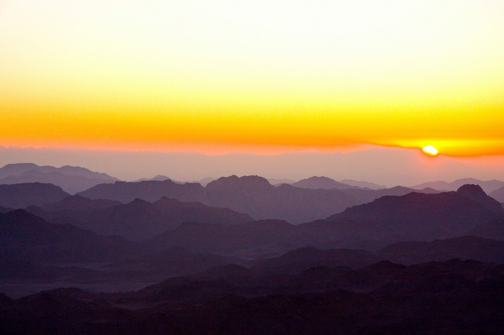 Sunrise from Mt. Sinai, Egypt... Looks like a watercolor!
