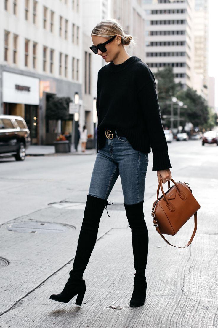 250ab8bb8f0 Blonde Woman Wearing Everlane Black Oversized Sweater Denim Skinny Jeans  Gucci Marmont Belt Stuart Weitzman Black