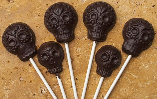 6 Fiesta Chocolate lollipops made with MexicanSugarSkull.com's Fiesta Lollipop mold