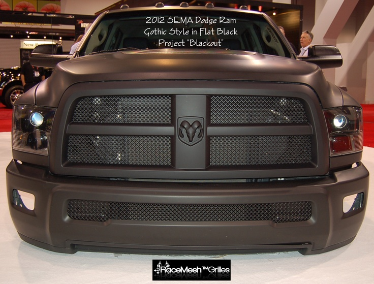 "Custom Grilles - 2012 SEMA Dodge Ram Project ""Blackout"" in Gothic Style Flat Black finish.  www.racemeshgrilles.com"