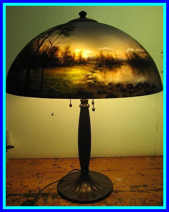 123 Reference Of Vintage Reverse Painted Lamps In 2020 Painting Lamps Diy Lamp Shade Rustic Lamp Shades