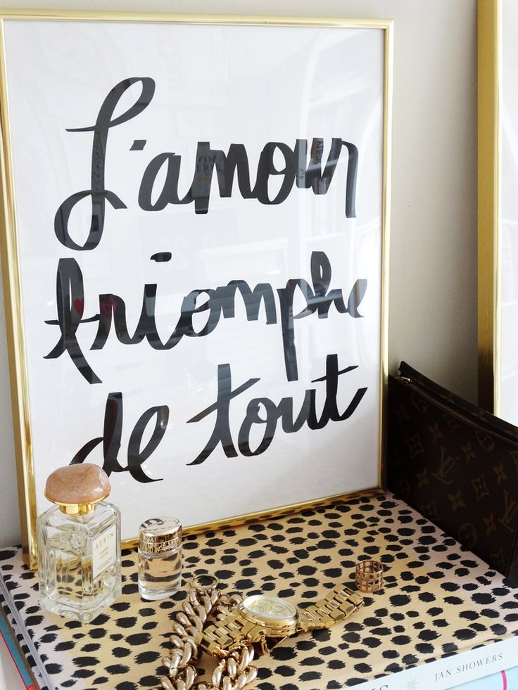 French print:  L'amour Triomphe De Tout - Love conquers all quote- Available @ MadeByGirl.com