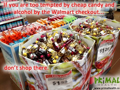 The ridiculously low cost of junk food and alcohol makes it tempting, so don't shop at supermarkets and superstores. Buy your food at the farmer's market, health food grocer, and/or co-op!