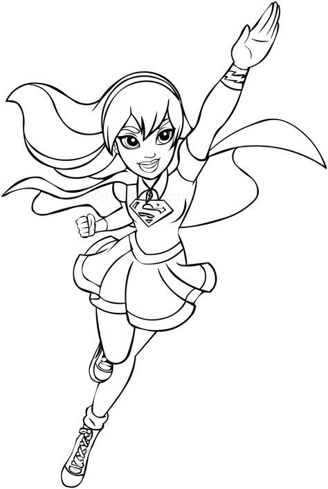 supergirl dc superhero girls coloring page children