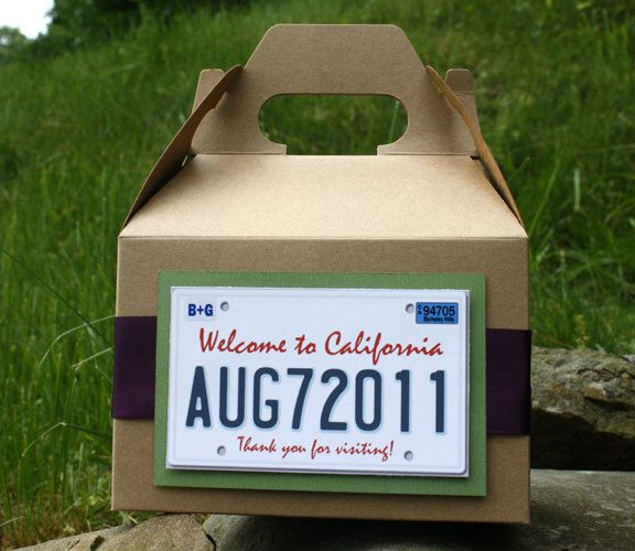 HOW CUTE ARE THESE HOTEL WELCOME BAGS?!?!? Wedding Welcome Bag/Basket - Partying Favor - California Plate Theme. $3.50, via Etsy.