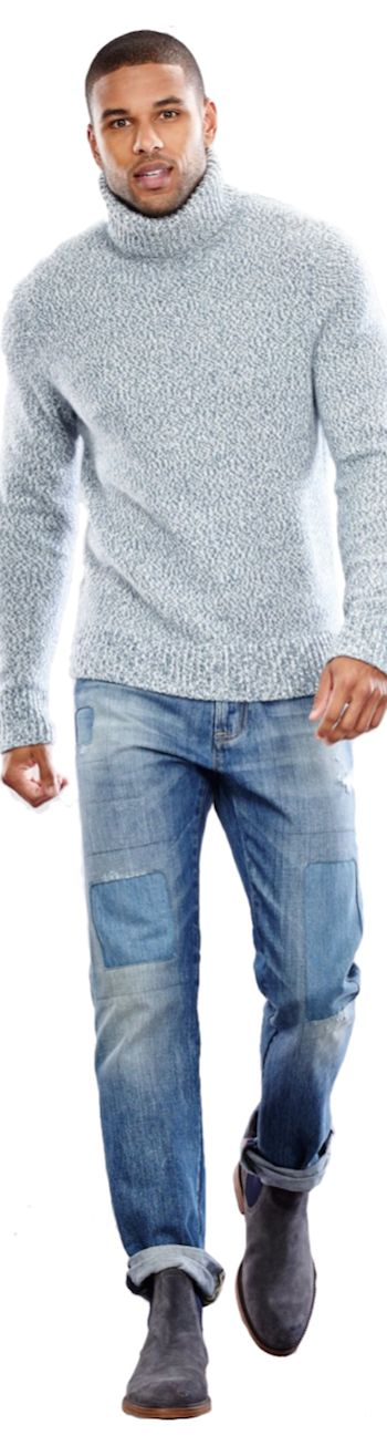 Men's casual style | Tommy Hilfiger Turtleneck and Straight-Leg Jeans