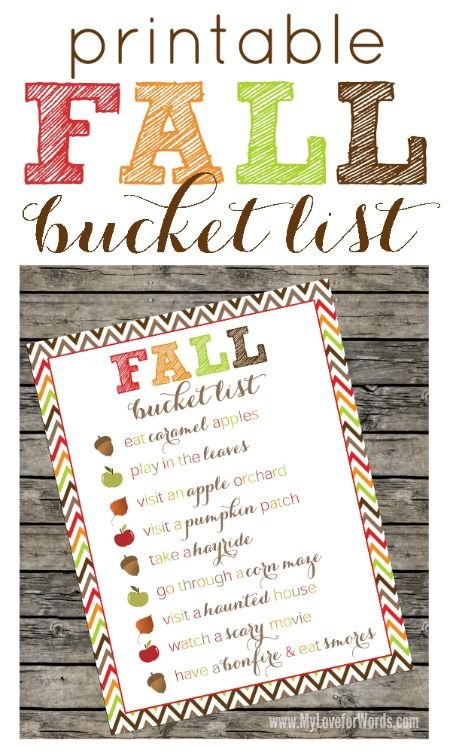 FREE fall printable bucket list! Printing so we remember all of our favorite fall activities :)