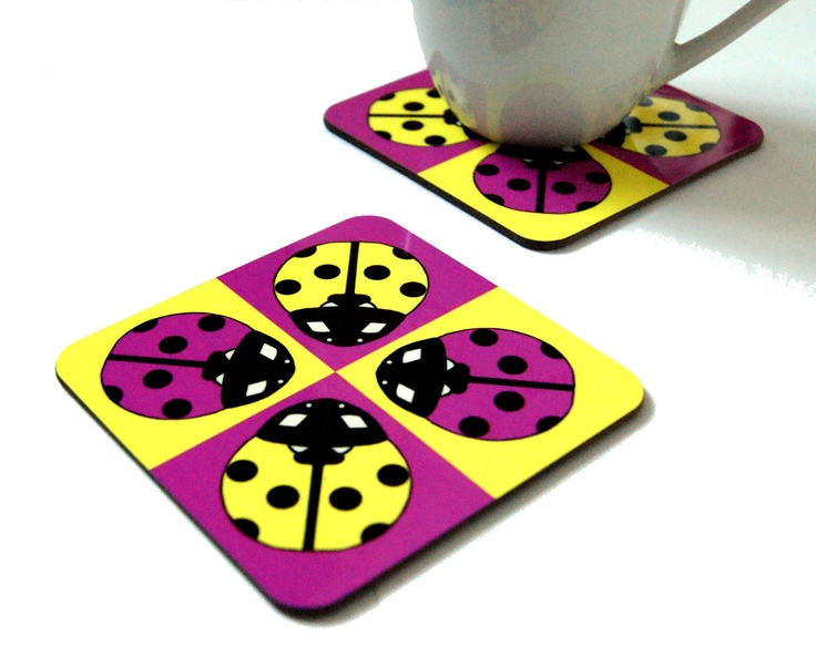 The Ladybird Pack Of 4 Drink Coasters Fun Coasters Animal