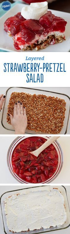 Layered Strawberry-Pretzel Salad - Pile layers of strawberries, strawberry gelatin and a creamy yogurt-cream cheese filling on top of a crushed pretzel base for a perfectly sweet-and-salty side dish that will steal the show at your next potluck.