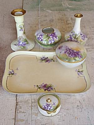 Beautiful 6 Piece Violet Limoges Dresser Set. Click on the image for more information.