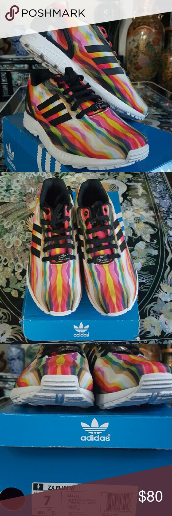 NIB Adidas ZX Flux sz. 7 New in box women's size 7.  They run a bit big.  Colorful, cute and definitely comfortable.   They are ortholite so very lightweight . Adidas Shoes Athletic Shoes