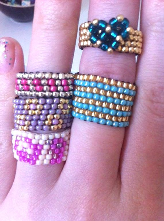 Cute Spring Boho Seed Bead Rings Beaded Rings by DeerestJewelry