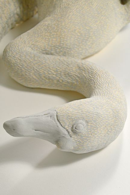 Hand built white stoneware ceramic swan, grey slip with incised textural detail. 45cmx40cmx35cm
