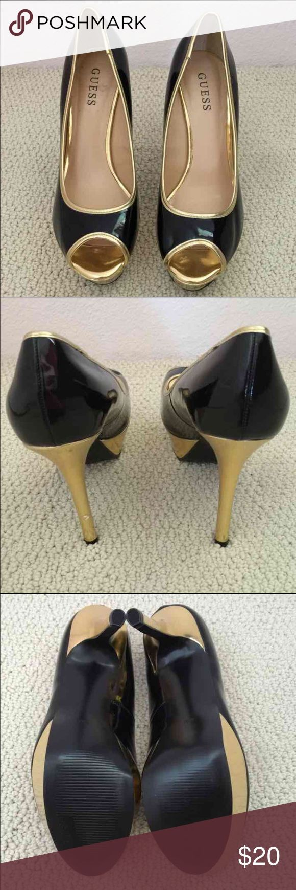 Black and Gold Pumps Brand New, never used.  Flaw on left heel. Bought it that way. Shoes Heels