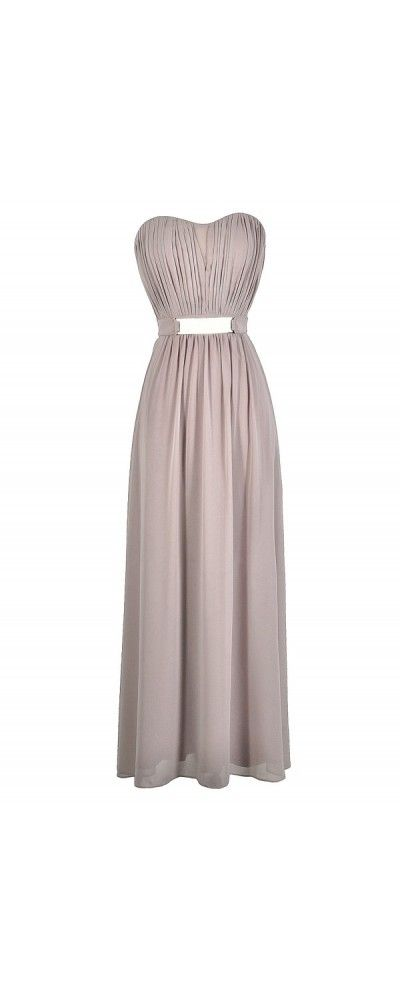 Chiffon Belted Designer Maxi Dress in Mink  www.lilyboutique.com