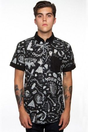 Mens Glamour Kills button ups available at Adrenalien Toronto.