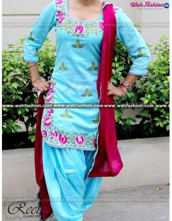 Give yourself a stylish & designer look with this Aesthetic Sky Blue Embroidered Punjabi Suit. Embellished with Embroidery work and lace work. Available with matching bottom & dupatta. It will make you noticable in special gathering. You can design this suit in any color combination or in any fabric. Just whatsapp us for more details. For more details whatsapp us: +919915178418