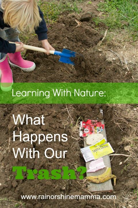 Learning with Nature: What happens with our trash? This fun science experiment is a perfect nature activity for Earth Day or Earth Month! From Rain or Shine Mamma.