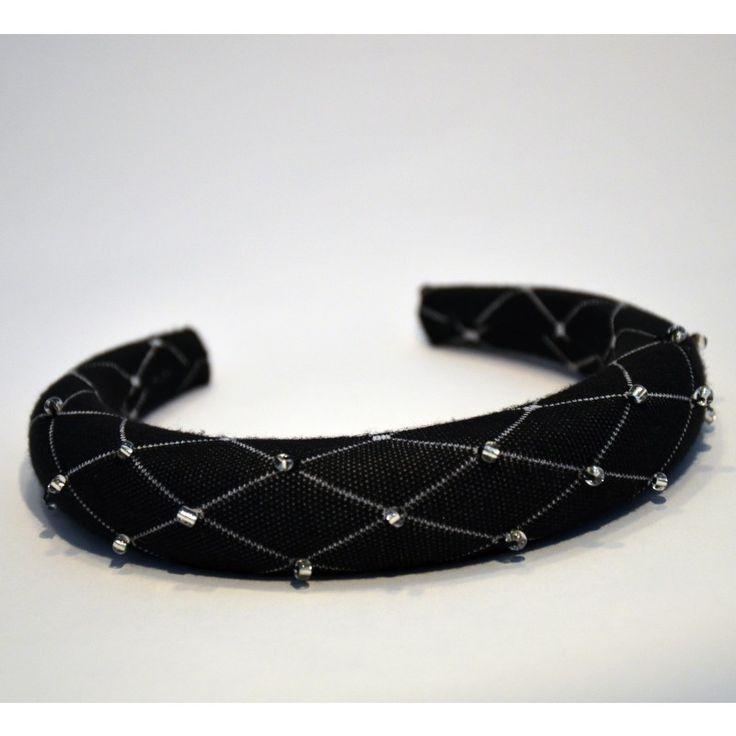Padded Band - Lattice/Black. This beautiful handmade padded headband is the perfect hair accessory for any occasion. #gabianona #hairfashion #happyhead