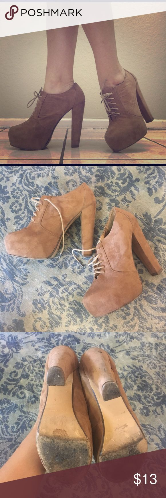 Chunky high heel ankle booties Surprisingly comfortable very high heels. Signs of wear on soles and heels, but still totally wearable! Forever 21 Shoes