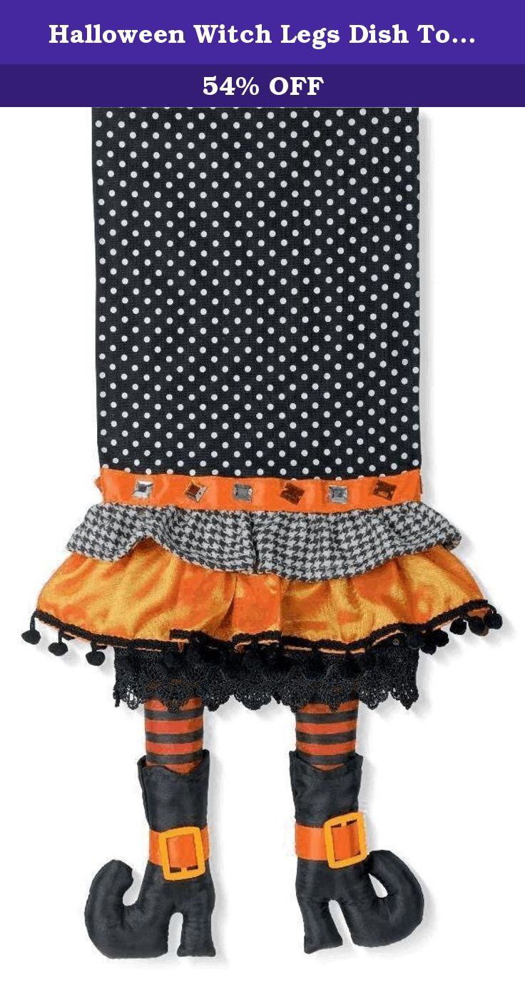 Halloween Witch Legs Dish Towel - 28 X 22 Inches. Decoration your kitchen in adorable style with our Halloween dish towel with witch legs hanging from the fringe. The towel measures 28 by 22 inches and is made of black and white polka dot and checked fabric. The orange fringe is gathered for a skirt affect and trimmed with black pompoms and lace. The witch's legs are encased in orange and blacked stripes and finished off with two black high-heeled boots with curled toes. Our happy dish…