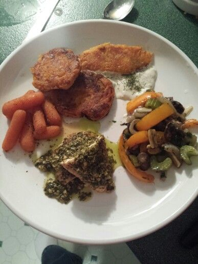 Baked seasoned chicken breast with a tea spoon of pesto sauce, carotts boiled in butter and brown sugar and a little dash of pepper, sauteed mushrooms, onions, yellow bell peppers ,celery and fresh garlic and parsley, pepper and dill weed. Side of sweet potato, cheese, honey and flour pancakes. Side of cucumber dill dressing for dip.