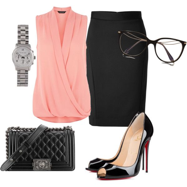 Office skirt by reishela on Polyvore featuring DKNY, Christian Louboutin, MICHAEL Michael Kors, Victoria Beckham and Chanel