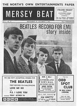 THIS DAY IN ROCK HISTORY: January 4, 1962: In their first major national exposure in their native Britain, Mersey Beat devotes most of today's issue to the Beatles, who'd just topped their readers' poll.