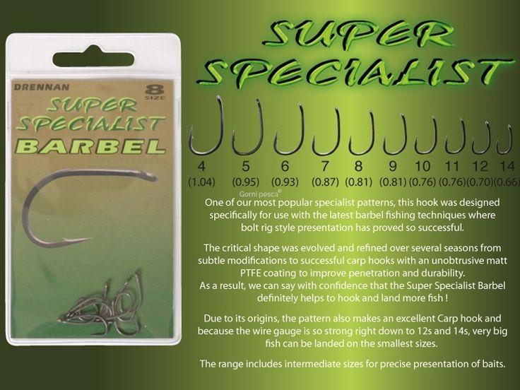 Per la pesca barbel fishing Drennan propone una serie di ami con l'occhiello denominata Super Specialist Barbel caratterizzati da leggerezza e robustezza