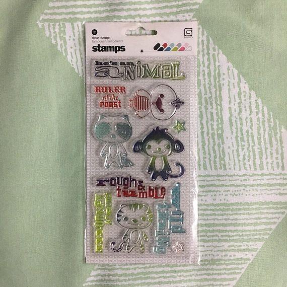 """Basic Grey """"Monkeying Around"""" Clear Stamp set, Rare & OOP, Jungle Animal Stamp Set"""