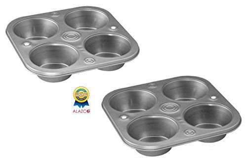 2 ALAZCO Toaster Oven 4 Cup Muffin Pan Roasting Pans Cupcakes Fast Baking Serving Size Quiche Meatloaf >>> Read more reviews of the product by visiting the link on the image.