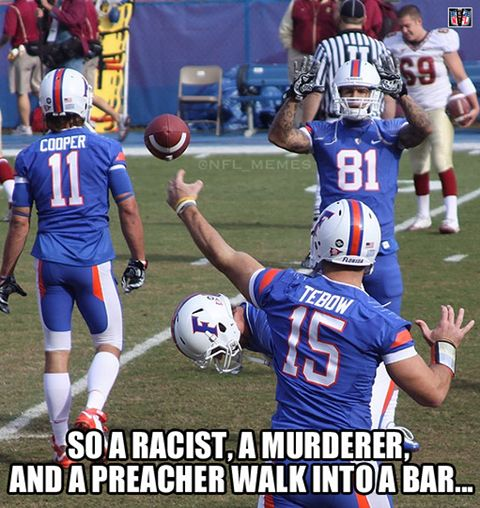 aaron hernandez tim tebow riley cooper florida football funny a racist a murderer a preacher walk into a bar as a gator hater i couldn t help but