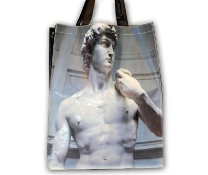 David by Michelangelo PVC plastic shopper tote bag. Approximately 38x31 cm. Accademia Gallery – Florence. #firenzemuseistore #art #Michelangelo #David #bag #shopper #Accademiagallery #Florence #accessories #fashion