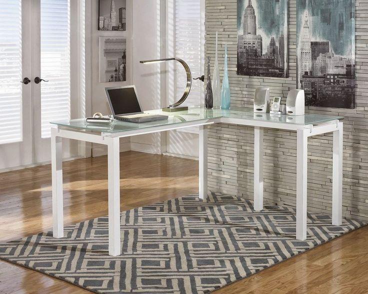 #Home #Office #Desk #Computer #Furniture Desks #White Corner Frosted Glass