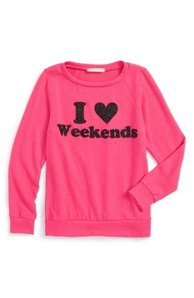 Soprano 'I Heart Weekends' Glitter Graphic Sweater (Big Girls) available at #Nordstrom