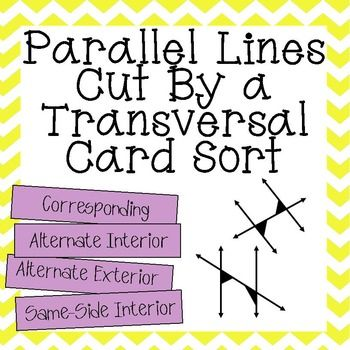 FREE ~ Great practice for my 8th grade math & Geometry students sorting angles created by parallel lines cut by a transversal into the following categories: Corresponding, Alternate Interior, Alternate Exterior, and Same-Side Interior