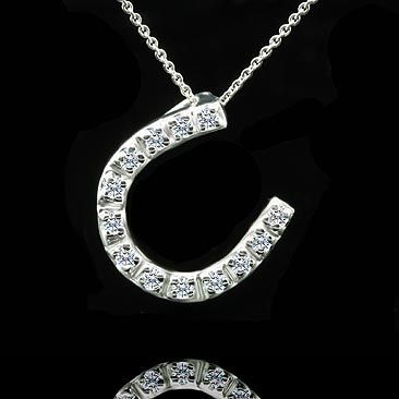 Lucky Diamond Horseshoe Pendant Necklace 14K White Gold by OroSpot, $289.00