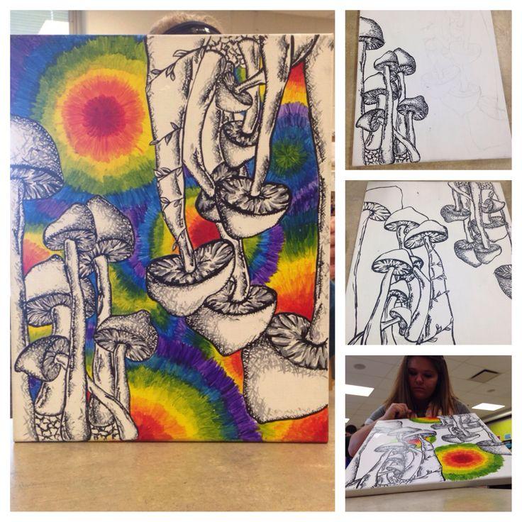 Trippy mushroom hippie original art paint drawn