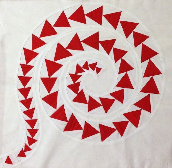 Reverse Applique Tutorial, shown with spiral flying geese, by Janice ...
