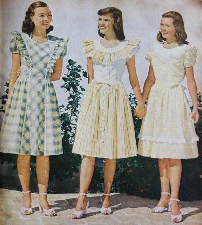 1947- Teens yellow peasant dresses in gingham check, another cute youthful fabric. #1940sfashion
