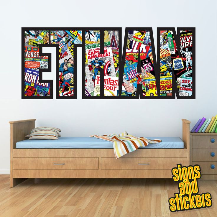childrens personalised name wall stickers marvelavengers boysgirls bedroom art in home - Name Of Bedroom Furniture
