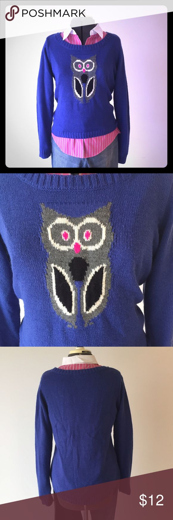 "Lei Owl Sweater Adorable Lei Owl Sweater. Sweater is blue with gray Owl and pink eyes. Juniors size XL measures : 16"" across shoulders, 19"" across chest, 25"" long, 24"" sleeve. 99% acrylic, 1% other. Has been washed a couple of times and shows a little wear, see last pic. 1029/200/110616 lei Shirts & Tops Sweaters"