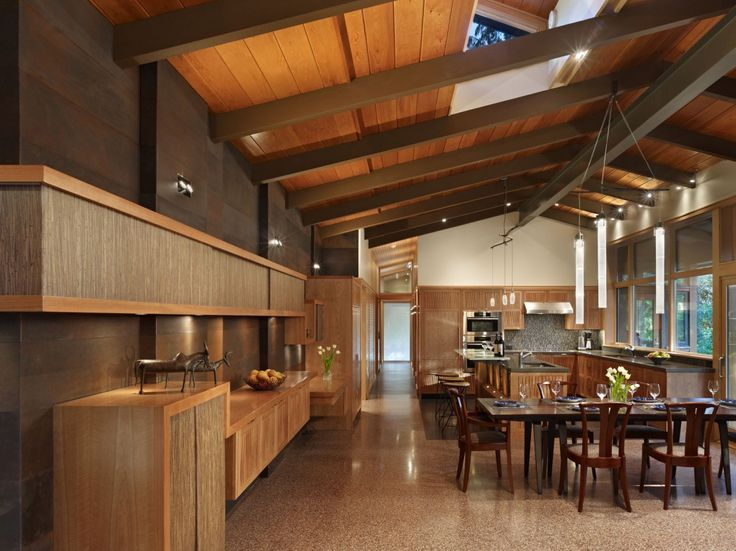 woodContemporary Home, Lakes Forests, Dining Room, Kitchens Design, Forests Parks, Interiors Design, Wood Ceilings, Open Kitchens, Modern Kitchens