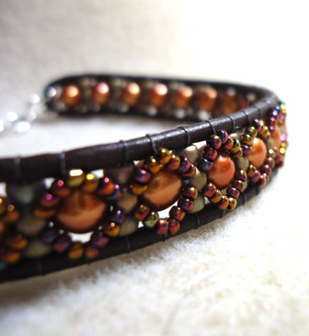 So many new techniques I could learn and so little time (Leather Seed Bead Bracelet)?