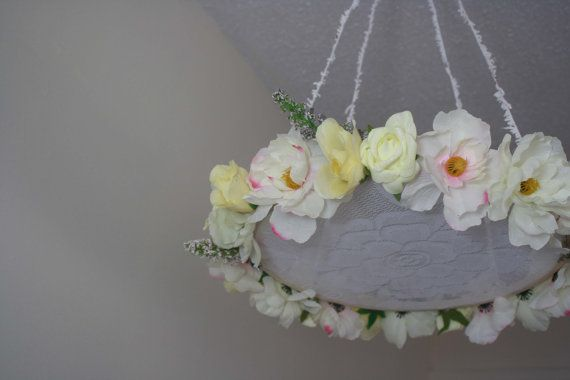 This beautiful lace floral mobile will be the perfect touch to any nursery. A mix of white, like pink, pastel yellow and pastel purple flowers.