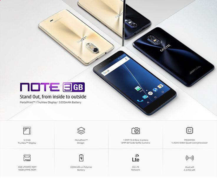 Cheap Smartphones - Goedkoperga je voorlopig niet vinden! De Geotel Note is een 5.5 Android 6.0 Smartphone met 3GB (!!) geheugen en 16GB opslag (uitbreidbaar). Daarnaast ook nog eens een mooi uiterlijk ! Nu voor maar €78,50!! gadgetsfromchina.... #Gadgets #Gadget #Gadgetsfromchina #gearbest #sale #deal #offer #price #Geotel #Note #android #smartphone #Design #4-Core #wannahave #gift #cheap #bargain #gift #blue #sapphire #gold #golden