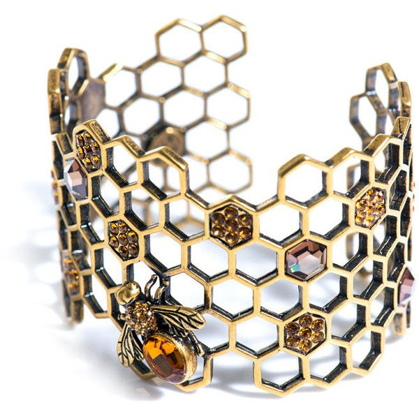 Alexander McQueen Honeycomb-bee topaz cuff ($715) ❤ liked on Polyvore